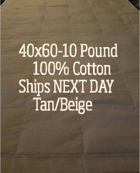 Weighted Blanket, 10 Pound, Tan/Beige, 40x60, READY TO SHIP, Twin Size, Adult Weighted Blanket, Next Business Day To Ship