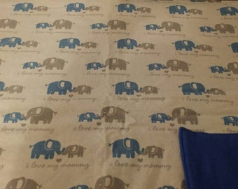 Blue and grey elephants blanket