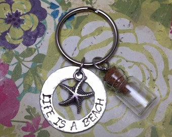 Life Is A Beach Hand Stamped Metal Keychain With Mini Sand Bottle