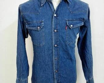 Vintage Levis Selvedge Denim Jeans Shirt Blue Jeans Shirt Western Wear Shirt Size Large