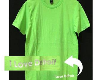 I Love Detroit Mens or Women's T shirt / City Love Tee/ Down town Top