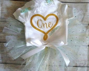 1st Birthday Girl Outfit Girls First Birthday Outfit Birthday Outfit Mint White Gold Cake Smash Photo Prop Personalize Customize