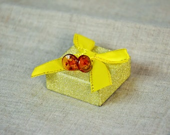 Baltic amber Stud earrings, amber earrings, sterling silver, small amber post earrings, gift ideas, amber jewelry, tiny amber studs