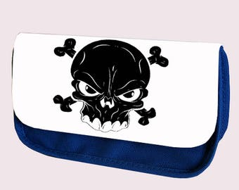 BLACK SKULL Pencil case / Clutch or Make up bag. Can be personalised. Perfect gift for Christmas, Birthday or even for Back To School.
