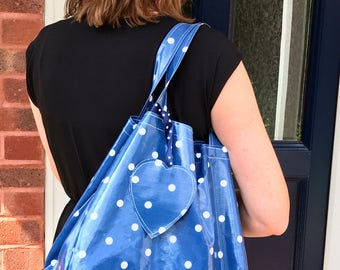 Blue Handbag – Blue Bag – Oilcloth Bag – Polka Dot Bag – Beach Bag – Purse – Oilcloth Tote Bag – Tote – Diaper Bag – Mothers Day Gift - Bag
