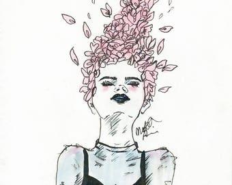 Flower Hair Print