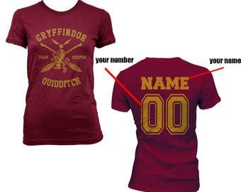 KEEPER - Custom back, Gryffindor Quidditch team Keeper YELLOW print on Women tee (BC6004)