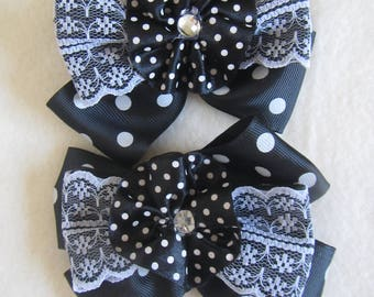 Girls School Set Black bows Elastics and necktie brooch, hair tie Flower, Kanzashi bows Elastics, bows pair hair ties, Girls necktie
