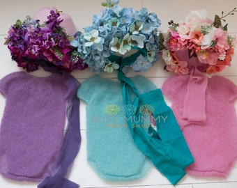 Girls sitter size  6-9 month set photography prop flower bonnet onesie