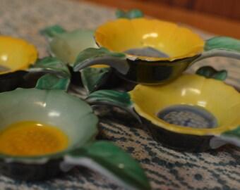 Vintage Goldcastle Sunflower Personal Ashtrays (Set of 6)