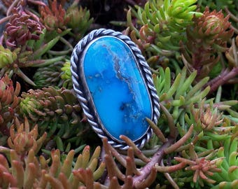 Turquoise Ring, Kingman Turquoise Ring, Sterling Silver Ring, Size 8 Ring