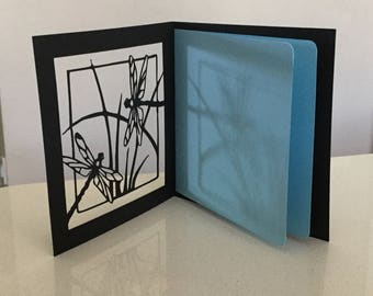 Customised papercut dragonfly birthday anniversary or thank you card