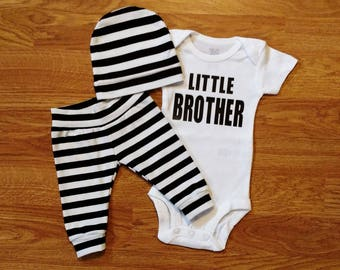 LITTLE BROTHER, baby boy, coming home outfit, baby shower gift, monochrome, black, white, stripes, bodysuit, hat, pants, sibling, brother