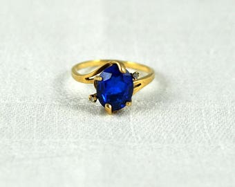 Sale! 10K gold simulated sapphire ring size 6.5