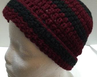 Crochet Hat 3, Crochet Gamecock Hat, Gamecock Beanie, Garnet and Black, Teen Hat