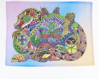 Microfiber Cloth Wipes Dragon Animal Spirits by Sue Coccia Native American Art Microfiber for Glasses, Computer Screens Ipads, & Phones, USA