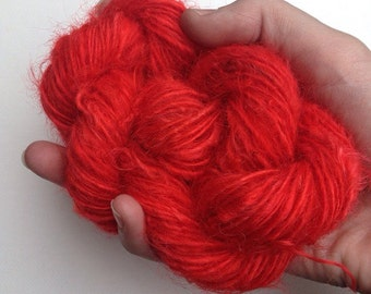 Crimson Cranberry Mohair Yarn Worsted Spun Single ply 70 Yards
