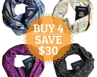 Buy 4 Secret Pocket Infinity Scarves and SAVE!