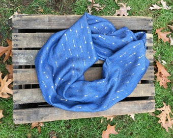 Blue Jean and Gold Arrows Infinity Scarf
