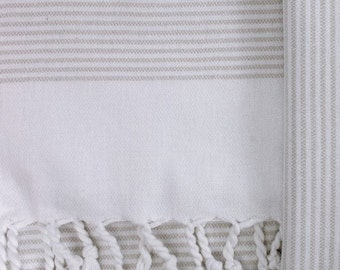 Tan and White Turkish Hand Towel- Mod Allure