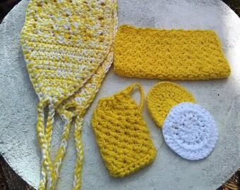 Cotton spa set, personal spa set, cotton bath set, Yellow cotton spa set, yellow personal spa set