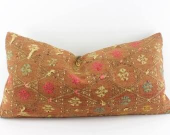 kilim lumbar pillow kilim pillow copper lumbar pillow 12x24 handmade kilim lumbar cushion sofa pillow decorative - Decorative Lumbar Pillows