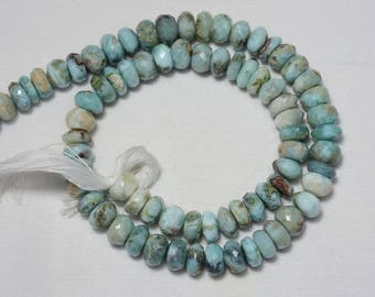 Larimar Cut Shape Beads, Larimar Faceted Rondelle Shape Briolettes Gemstone For Jewelry, 8mm Approx, 14 Inches Strand