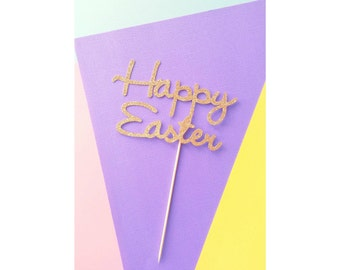 Happy Easter Cake Topper. SALE!! Easter Party. Easter Sunday. Easter Desserts. Easter Decorations. Happy Easter