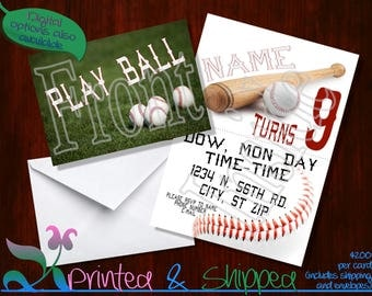 Baseball Invitation; Folded Card; Postcard; PDF; E-Card