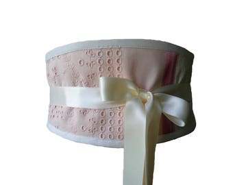 Belt obi fabric embroidered pink Nyahay tender