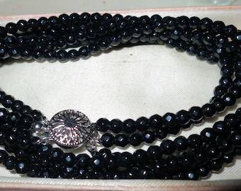 Lovely 3 strand faceted 5mm Black Onyx necklace 19""