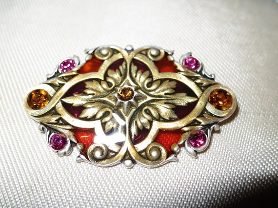 Lovely Art Deco vintage Popesco brooch stained glass rhinestones
