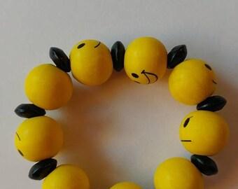 Yellow Stretch Emoji Children's Bracelet with Black Wood Beads