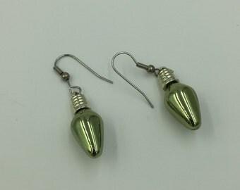 Christmas Shiny Green Lightbulb Dangle Earrings BUY 3 Get 1 FREE