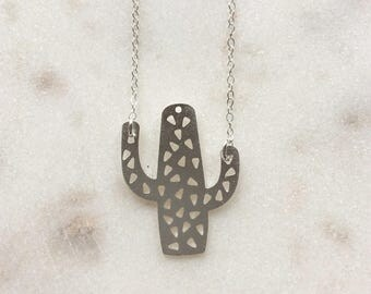 Cool Matte Silver Cactus Necklace on Delicate Sterling Silver Chain