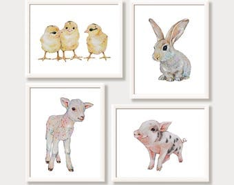 Farm Nursery Decor Baby Farm Animal Prints Farmhouse Nursery Wall Art Watercolor Art Painting Lamb Rabbit Bunny Chicken Pig Set of 4 Prints