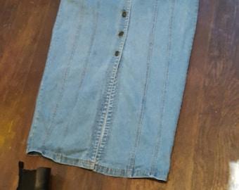 Vintage All Button Sleeveless Denim Dress