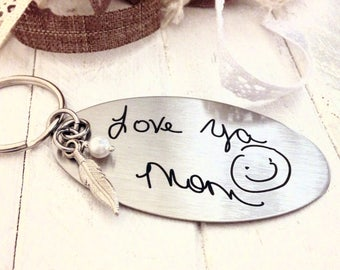 Handwritten Key Chain- with Pearl and Feather Charm -Your Handwriting  - or FONT - Engraved, Personalized Key Chain for Mom, Stainless Steel