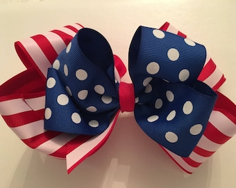 Jumbo Fourth of July Hair Bow July 4th Bow Jumbo Patriotic Hair Bow Large Patriotic Hair Bow Large July 4th Hair Bow Red White Striped Bow