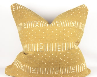"24"" x 24"" Mustard Mudcloth Pillow   Yellow Mud Cloth Pillow   Earth Toned Mudcloth Pillow   Bohemian Pillow"