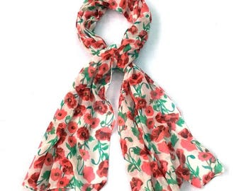 Summer scarf, summer floral scarf, floral scarf,lightweight scarf,women accessories, gift for her