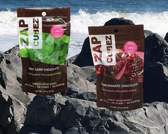 ZAP Cubez Pomegranate Chocolate and Mint Caffeinated Healthy Energy Chews Snack Bites - 2 packs