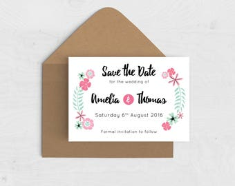 Floral Wreath Save the Date Card / Magnet - Pink, Green Flowers Save the Date