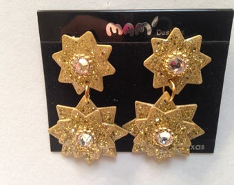 Vintage Designer Mam' Collectors Glittered Gold Starburst With Crystals Dangle Pierced & Clip Earrings