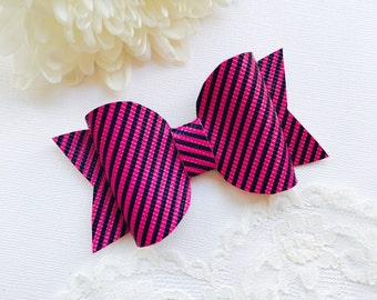 SALE Pink Stripe Hair Bow, girls bow, toddler bow, baby bow, baby girl bow, hair bow headband, clip bows, bow clips, hair bow clip