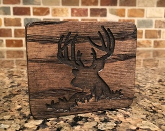 Solid Oak Whitetail Deer Ring Box