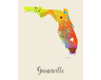 Gainesville Florida Gainesville Map Gainesville Print Gainesville Poster Gainesville Art Gainesville Gift Gainesville Wall Decor