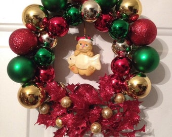 Cat wreath Christmas wreath green red decoration fish ornaments