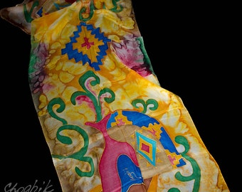 Hand Painted Silk Scarf - Batik Gift for Her - Armenian Handmade - Armenian Ornaments