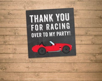 red race car thank you for racing over to my party, 3x3 thank you tag printable, chalkboard style, 6 on a letter size pdf, instant download